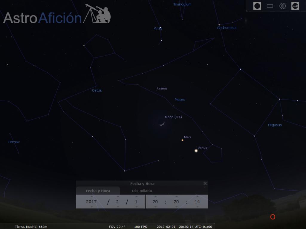 Alineación Venus Marte Luna