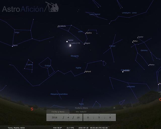 Conjunción Luna - Júpiter 18 de abril de 2016