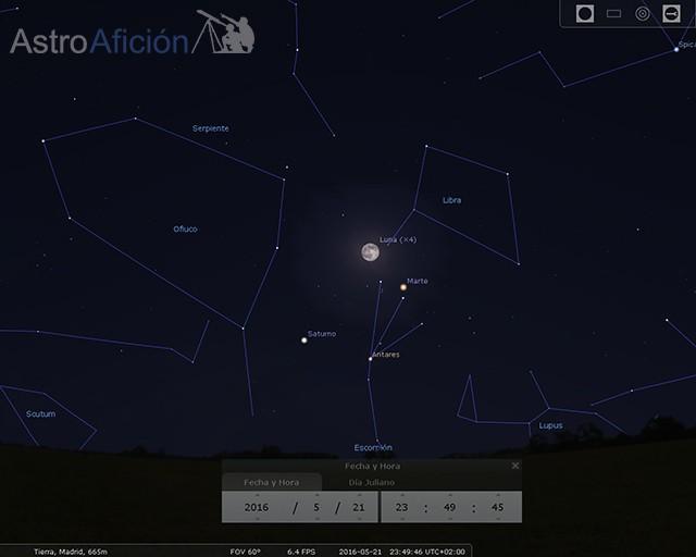 Conjunción Luna-Marte