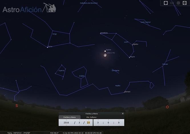 Conjunción Luna-Júpiter y su posición en el cielo.