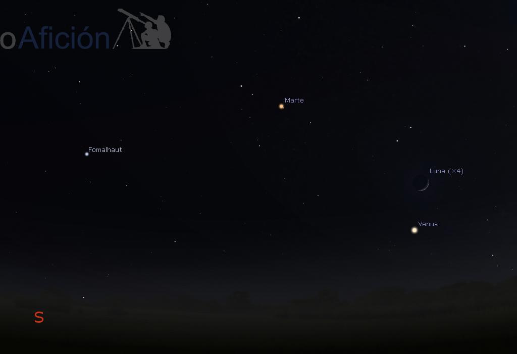 Conjunción Marte - Venus - Luna