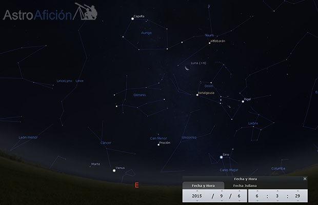 Conjunción Marte-Venus y Luna junto a Orión
