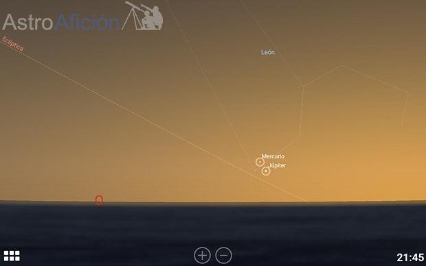 Conjunción Mercurio Júpiter 7 Agosto 2015