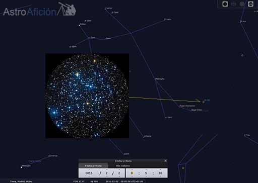Localización de M35 y vista ampliada