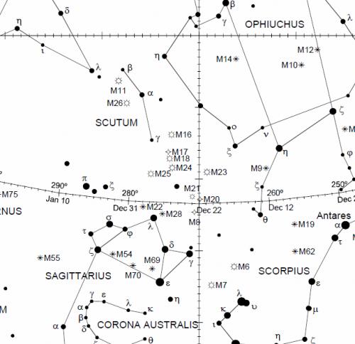 Carta celeste con Sagitario y M16