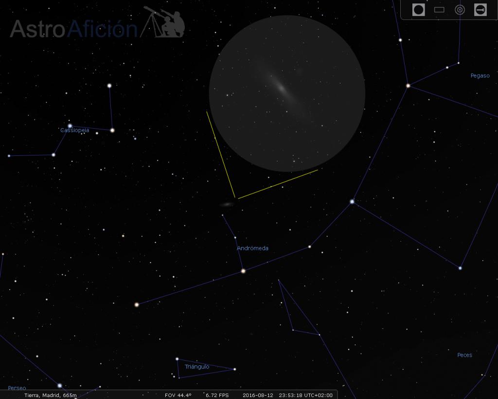 Localización y aspecto visual de la Galaxia de Andrómeda.