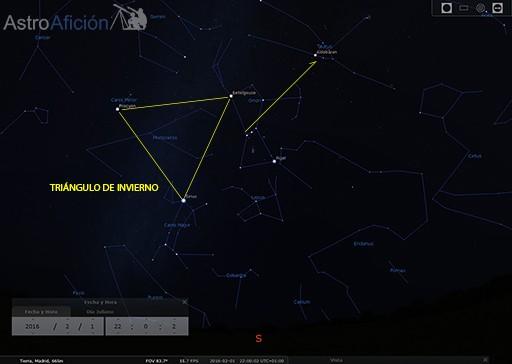 Triángulo de invierno, Cinturón de Orión y guía visual hasta Tauro
