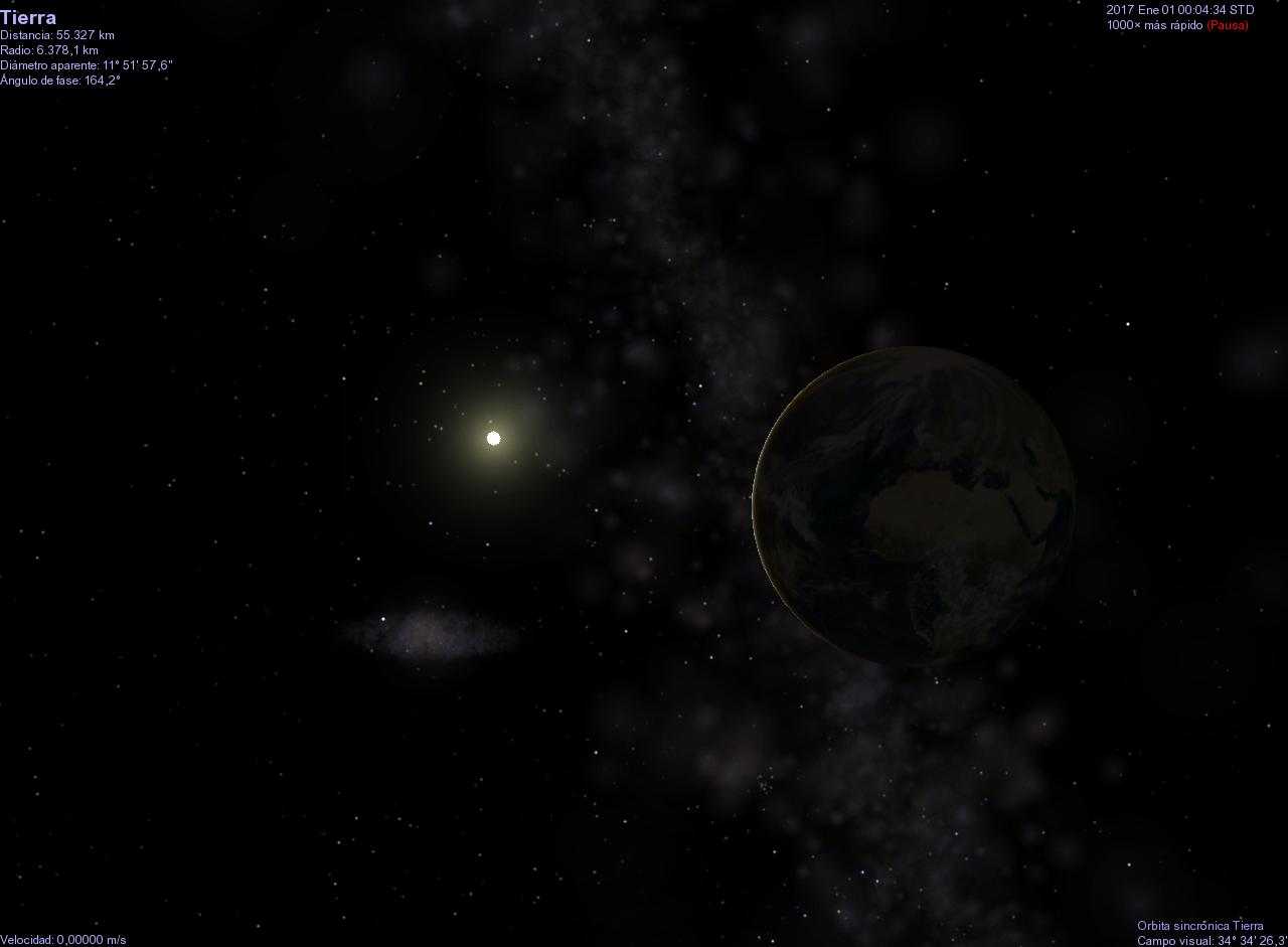 Simulación en Celestia de la Tierra y el Sol en Año Nuevo de 2017