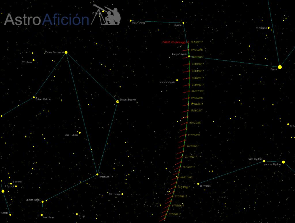 Localización del cometa C/2015 V2 (Johnson) en junio de 2017