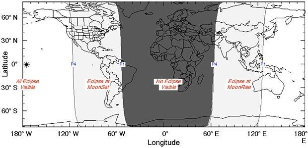 Zona de visibilidad del eclipse lunar penumbral.