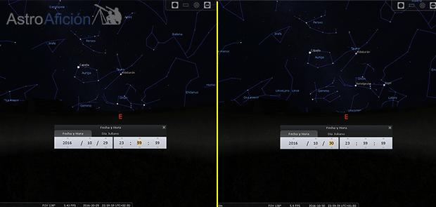 Constelación de Orion los días 29 y 30 de octubre