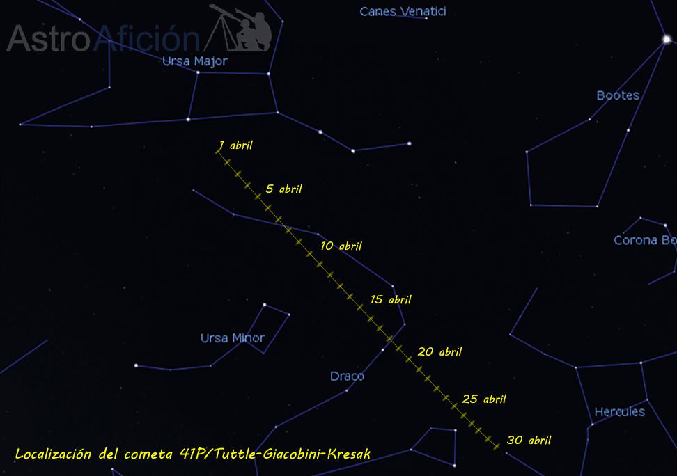 Carta de localización del cometa 41P/Tuttle-Giacobini-Kresak en abril de 2017