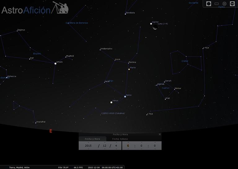 Conjunción Luna Júpiter 4 Diciembre 2015