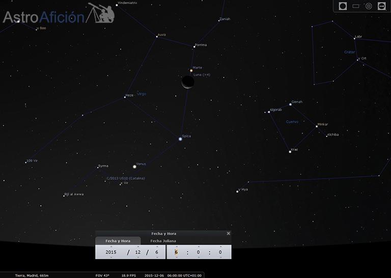 Conjunción Luna Marte 6 de Diciembre de 2015
