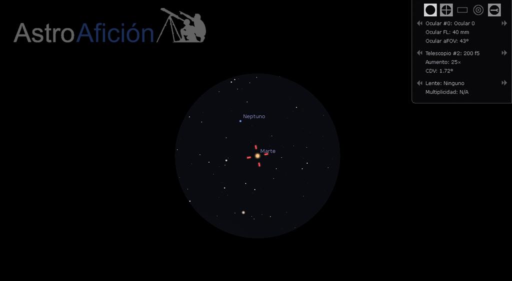 Conjunción Marte-Neptuno visto al telescopio