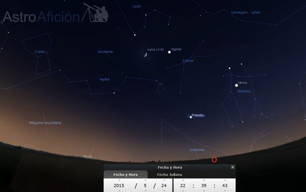Conjunción aparente de la Luna y Júpiter