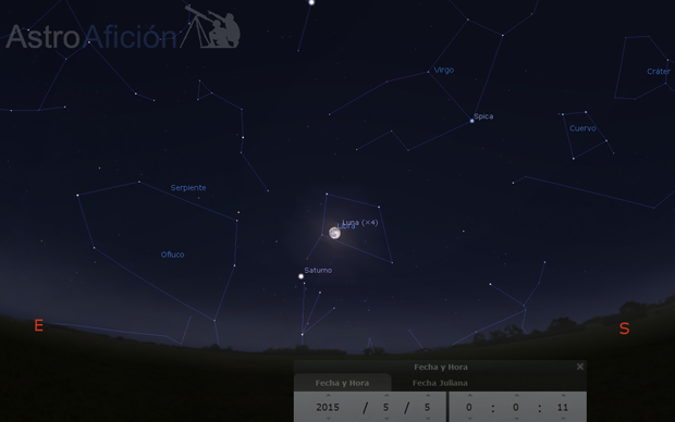 Conjunción aparente Saturno y Luna