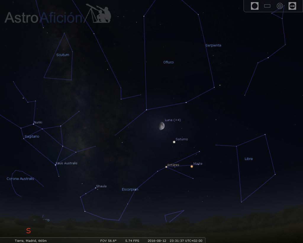 Conjunción Luna, Saturno y Marte