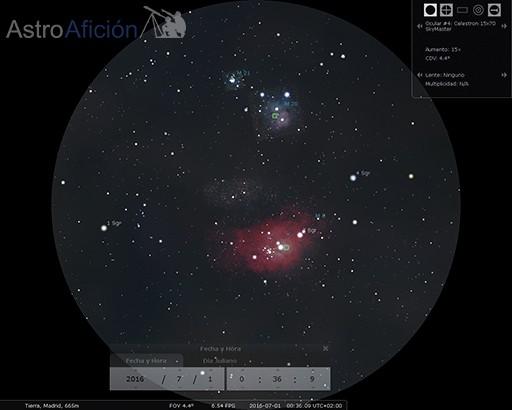 Aspecto de M8 y M20 a través de prismáticos 17x50