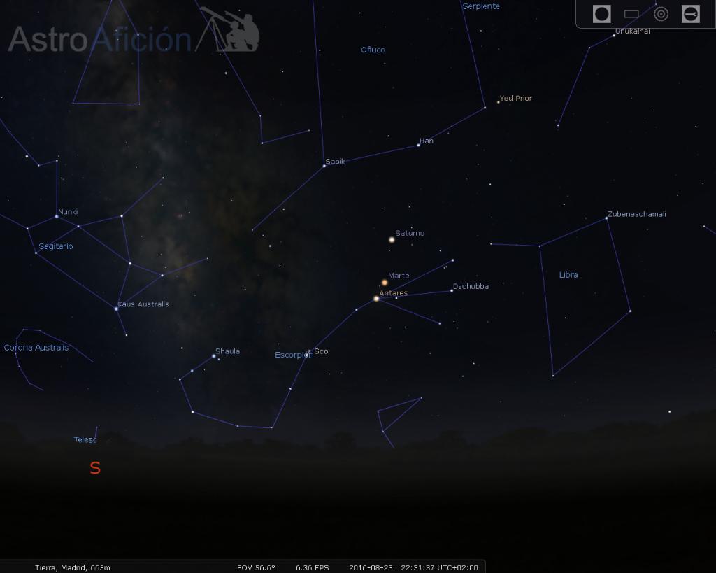 Conjunción Marte, Antares y Saturno