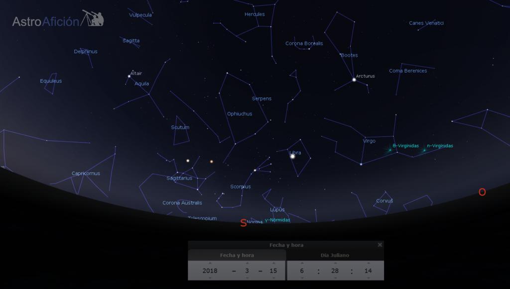 Lluvias de meteoros del mes de marzo